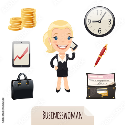 Businesswomans icons set. Clipping paths included.