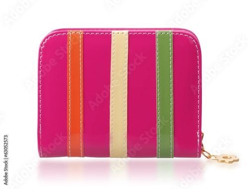 Colorful woman leather wallet isolated on white