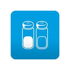 Etiqueta tipo app azul simbolo sal y pimienta
