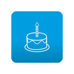 Etiqueta tipo app azul simbolo tarta de cumpleaños