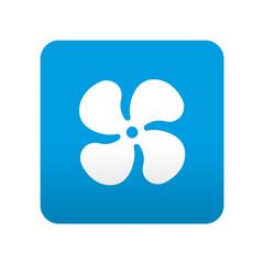Etiqueta tipo app azul simbolo ventilador