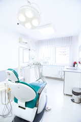 Dentist tools and professional dentistry chair