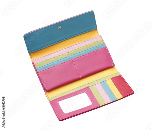 Open colorful woman wallet with card holder slots isolated