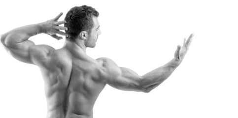 Bodybuilder showing his back muscles isolated on a white
