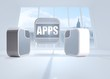 Composite image of apps banner on abstract screen