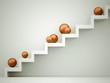 Orange spheres on stairs
