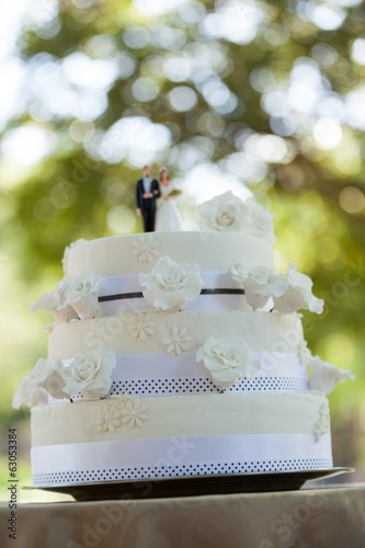 Figurine couple on wedding cake at park
