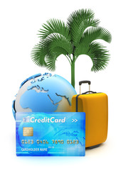 Pay for tropical holiday by credit card - concept illustration