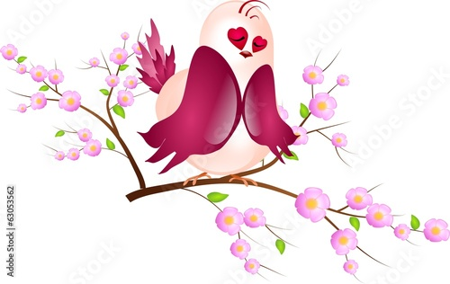 Sleeping pink bird on twig