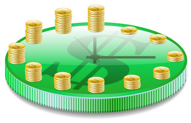 clock with coins. Vector