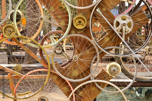 Fototapeta Bicycle wheels pattern decorate to background