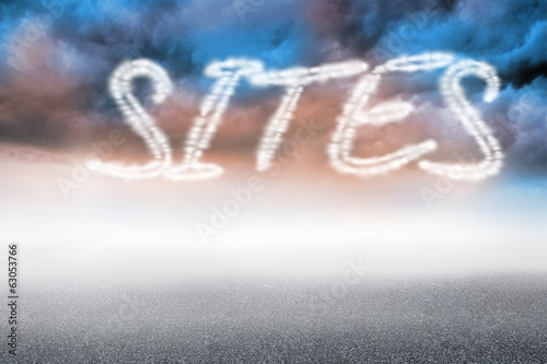Sites against cloudy landscape background