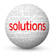 """SOLUTIONS"" Tag Cloud Globe (business ideas projects innovation)"