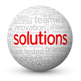 """""""SOLUTIONS"""" Tag Cloud Globe (business ideas projects innovation)"""