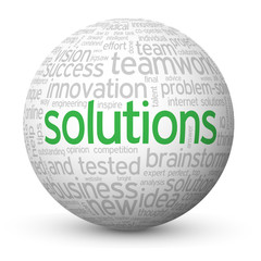"""""""SOLUTIONS"""" Tag Cloud Globe (ideas business projects innovation)"""