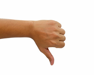 Hand of man with thumb down isolated on white background