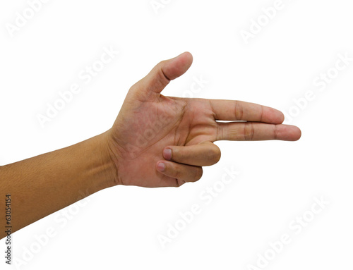 Pointing finger sign hand pistol gesture isolated over white bac