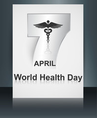 Beautiful text 7 April world health day brochure caduceus medica