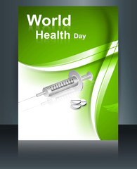 World health day brochure concept with medical symbol template r
