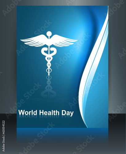 Medical symbol colorful brochure caduceus reflection world healt