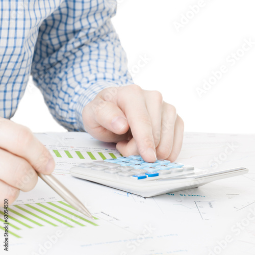 Businessman checking financial graphic - 1 to 1 ratio