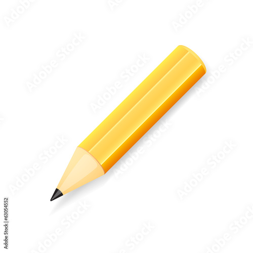 Yellow pencil, isolated on white background