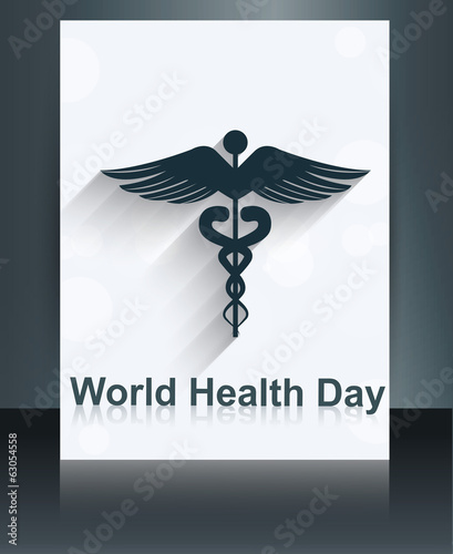 World health day brochure medical background template caduceus m
