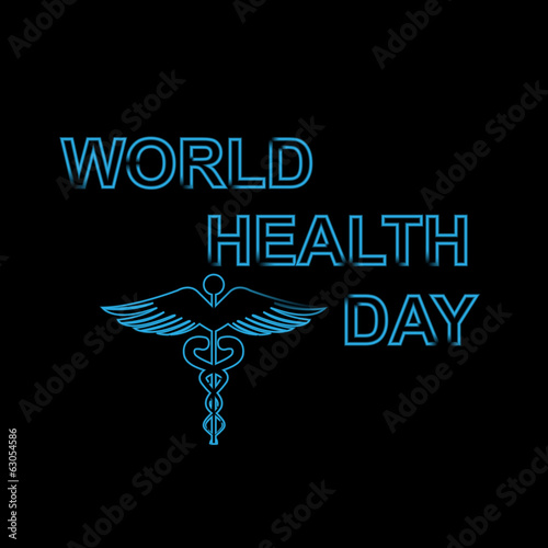World health day text concept medical black colorful background