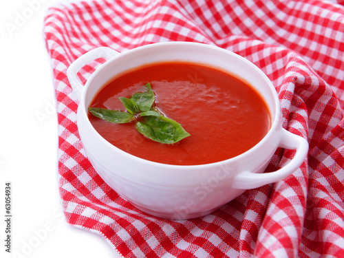 Tasty tomato soup, close up
