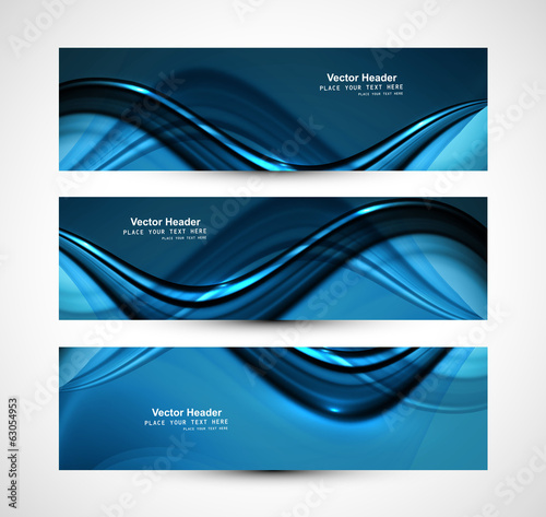Beautiful business header blue shiny stylish wave design vector
