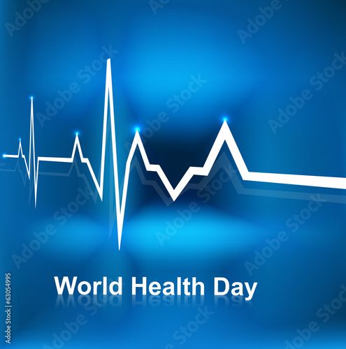 Beautiful World health day concept with beats line medical blue