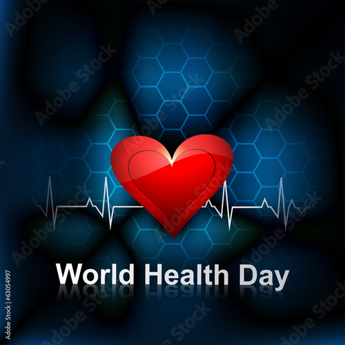 Heart beats medical concept world health day bright colorful bac