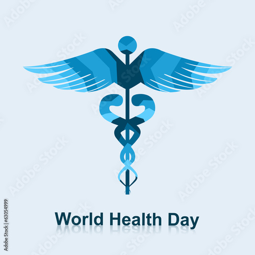 Caduceus medical symbol beautiful world health day vector illust