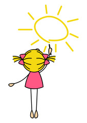 Cute little girl drawing Sun