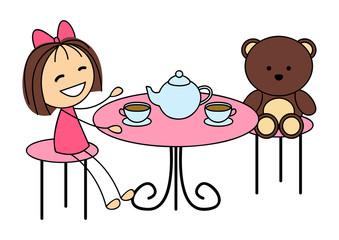Cute little girl drinking tea