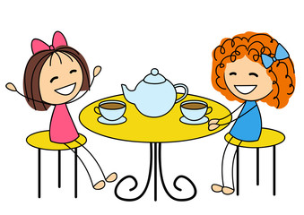 Cute little girls drinking tea