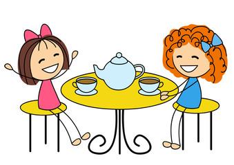 Cute little girls drinking tea