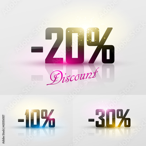 Vector glossy discount percents