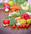 Fresh organic vegetables on a table