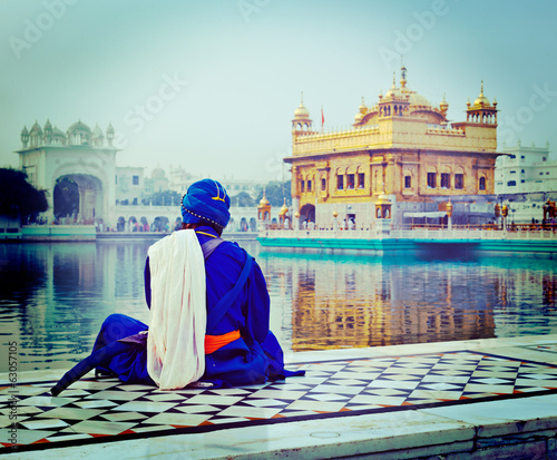 Unidentifiable Seekh Nihang warrior meditating at Sikh temple Ha
