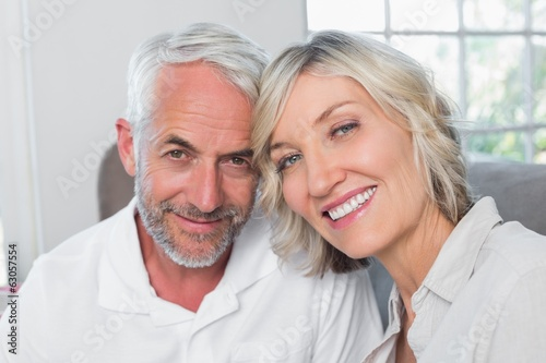 Close-up of a happy mature couple at home