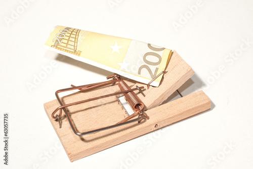 Leinwanddruck Bild Mausefalle mit 200-Euro-Schein