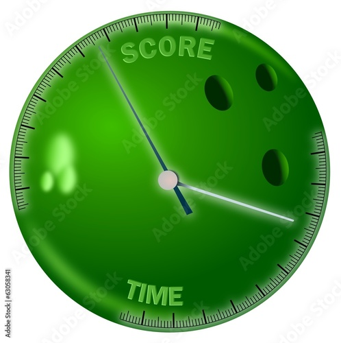 Colored bowling ball with time and score scales