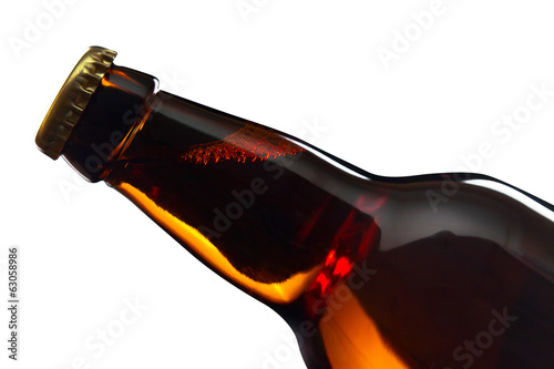beer bottle isolated on white , saved clipping path