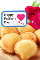 Madeleine cake with elegant flower for father's day