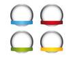 4 silberne Buttons mit Banderole - Vorlage