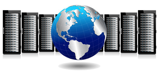 Data Storage System - Row of Network Servers with Globe