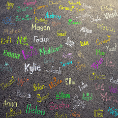 Children names and drawings on asphalt road