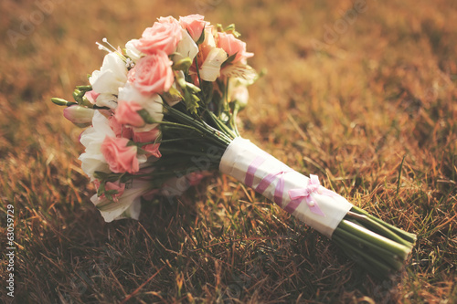 Wedding bouquet on grass