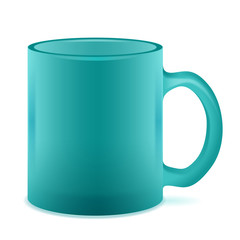 Green semi-transparent mug isolated. Empty Frosted cup.